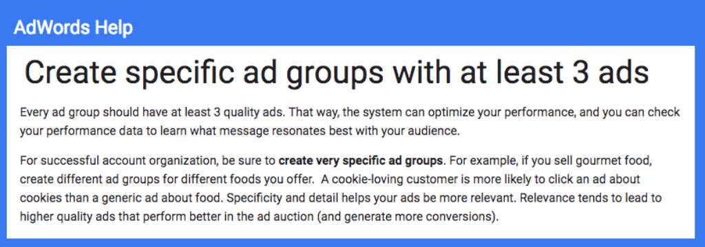google adwords help on adgroups