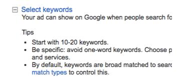 google tips for selecting keywords
