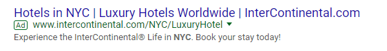 Google Hotel Ads - search network example
