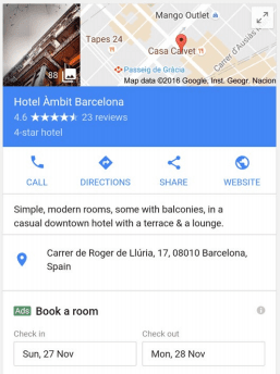 Google Hotel Ads - search