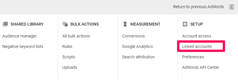 linked accounts adwords