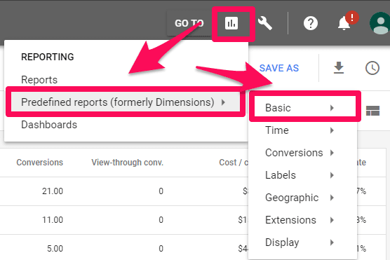 locating the reporting section of adwords
