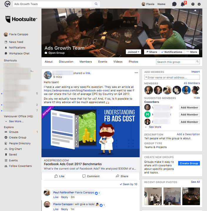 Workplace by Facebook - example