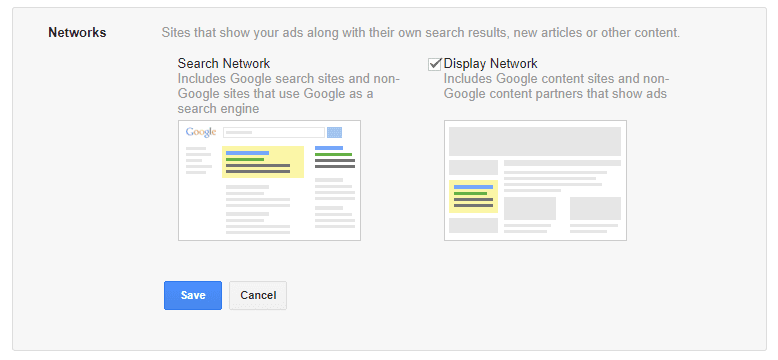 search and display network options