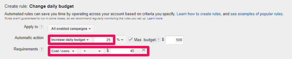 showing how to create budget rules