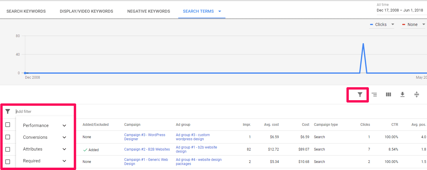 using filter report on adwords