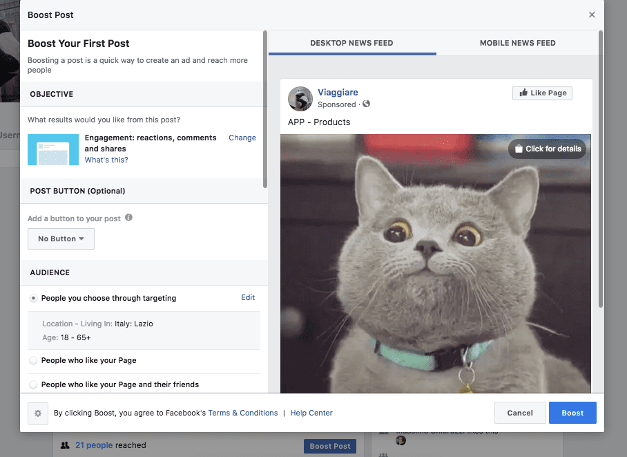 facebook boost post step 2