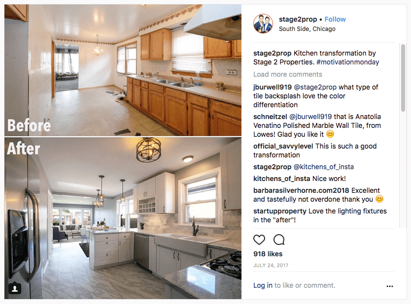 Instagram for real estates before and after picture