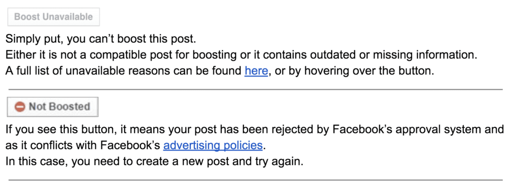 facebook ads boost unavailable