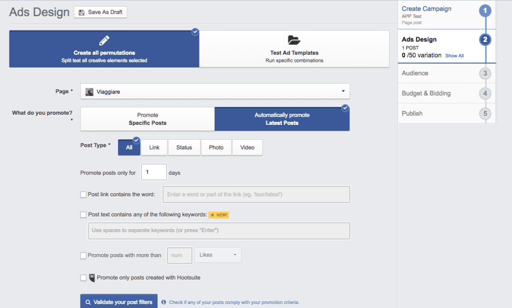 facebook ads automatic post promotion adespresso step 2