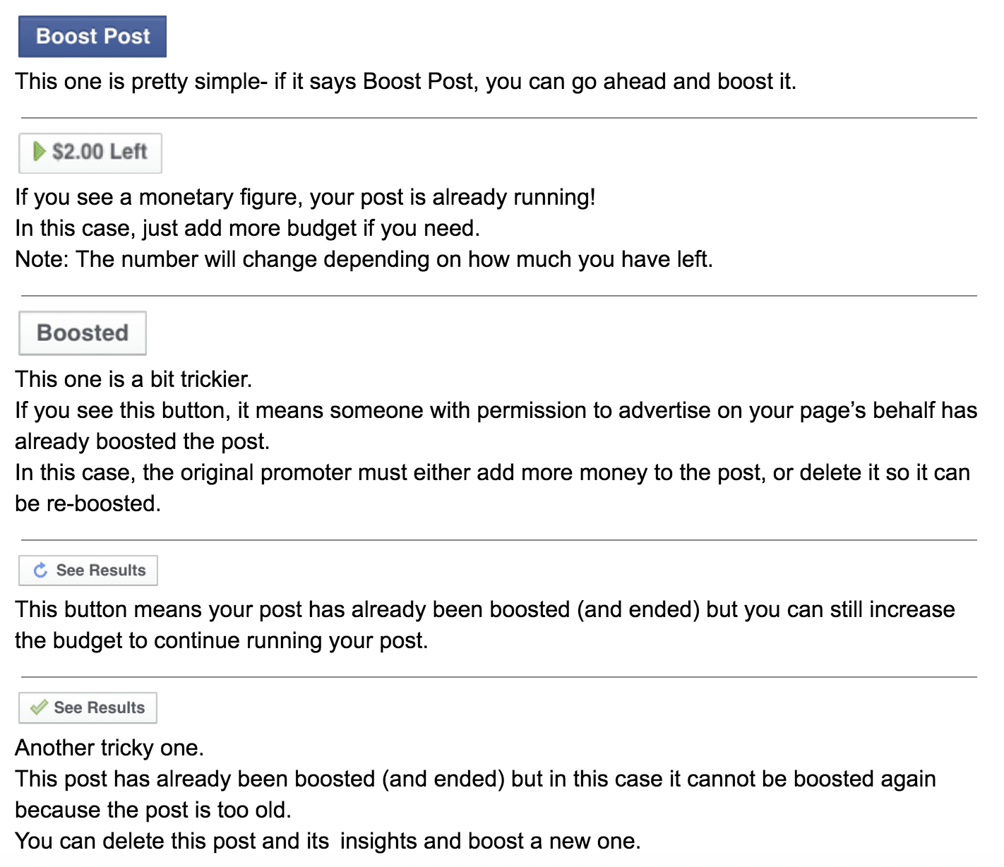 facebook boost available
