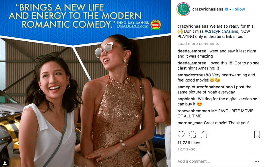 Crazy Rich Asians: an example of using hashtags to generate more traffic.