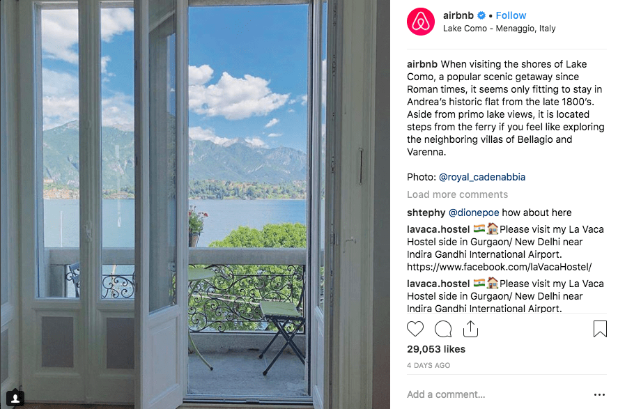 Example of user-generated content: Airbnb.