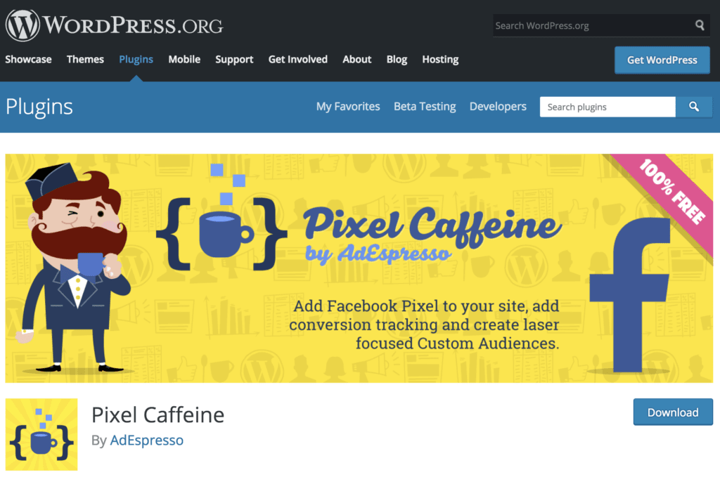 Home page for the Pixel Caffeine WordPress plugin