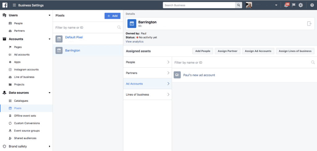 facebook pixel assign to ad account