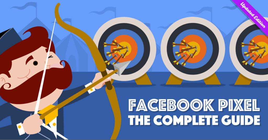 """AdEspresso mascot shooting arrows at targets, """"Facebook Pixel Complete Guide"""""""