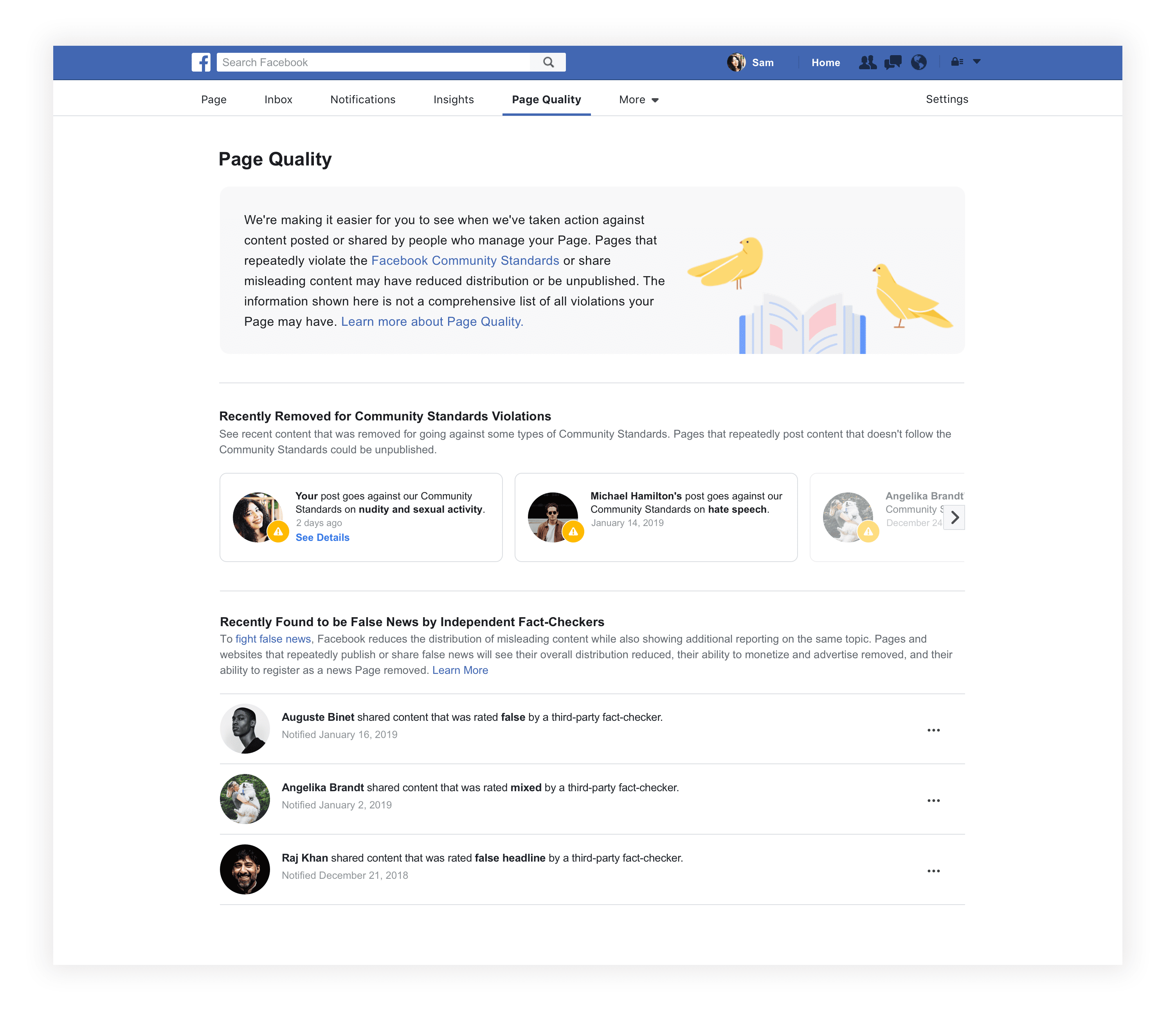 """Facebook Page """"Quality Tab"""""""
