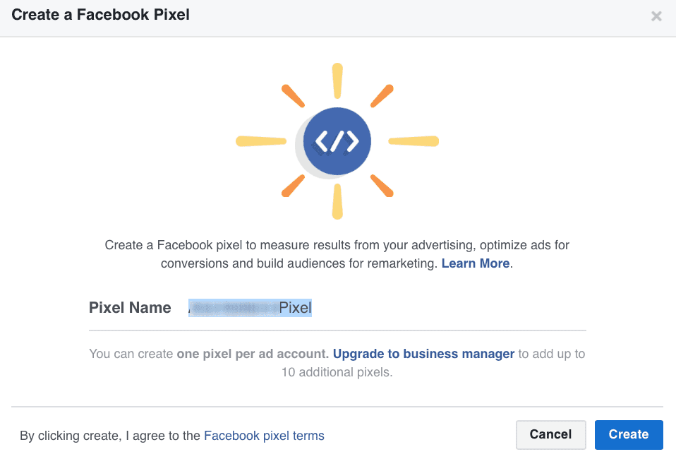 """""""Create a Pixel"""" page requiring you to name your Facebook pixel"""