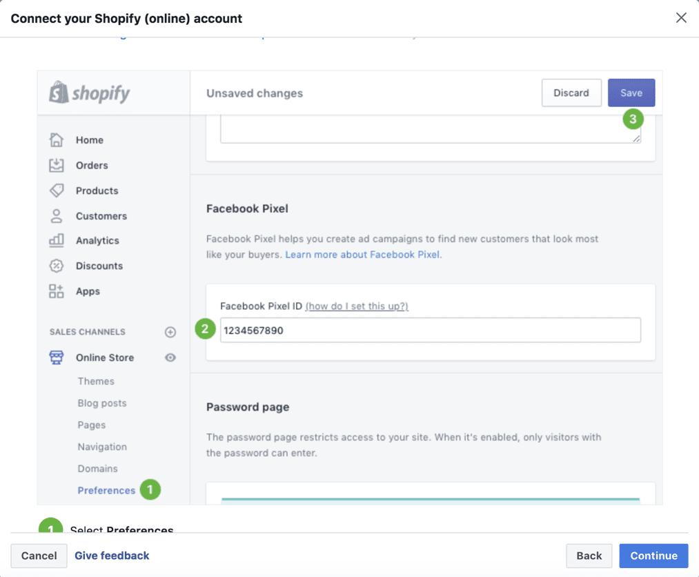 Shopify dashboard to set up Facebook pixel