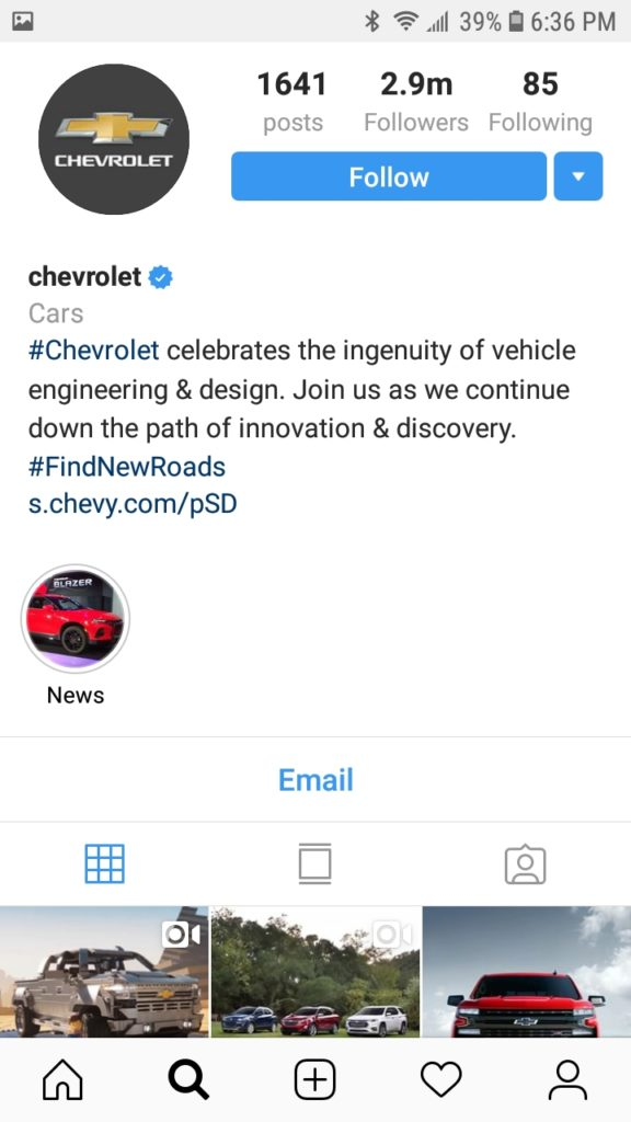 Instagram hashtags Chevrolet