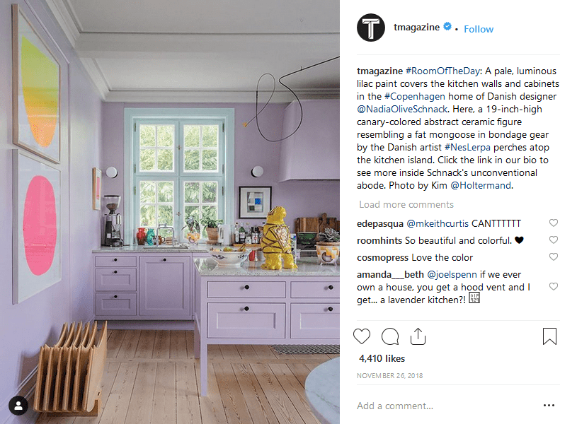 Using Instagram hashtags New York Times T Magazine post screenshot