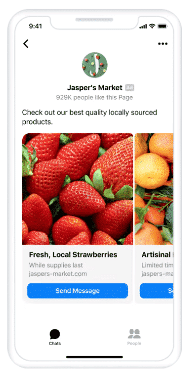 Facebook Messenger Inbox ad placement