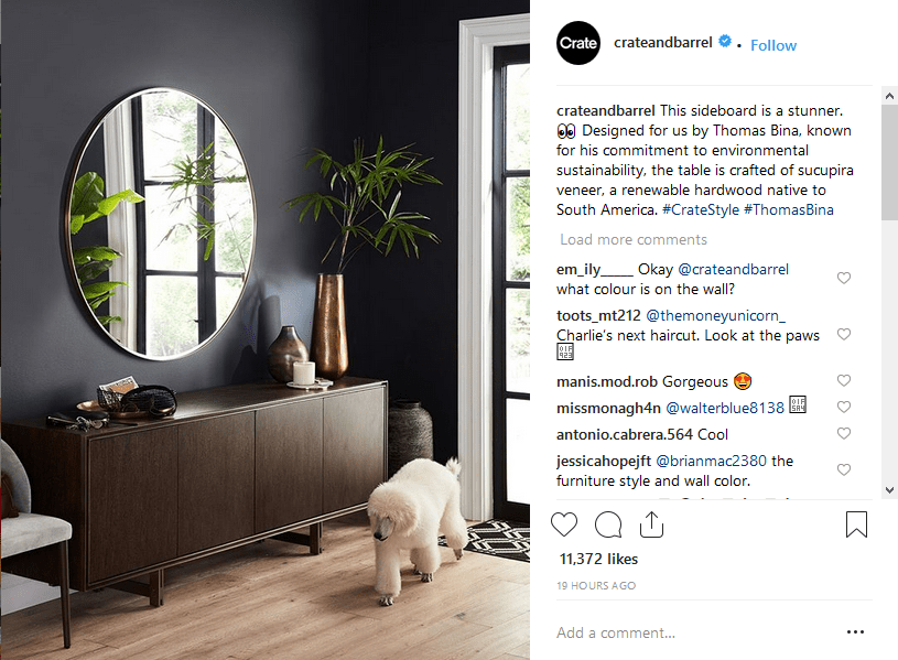 Instagram hashtags strategy Crate & Barrel