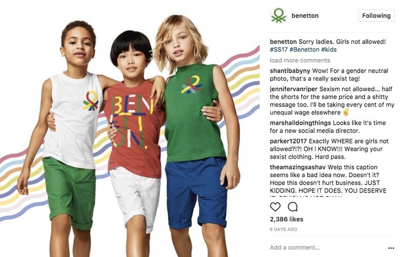 Instagram Mistakes Benetton ad