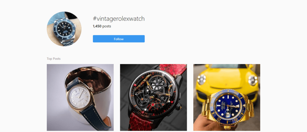 Instagram hashtags strategy Rolex watches