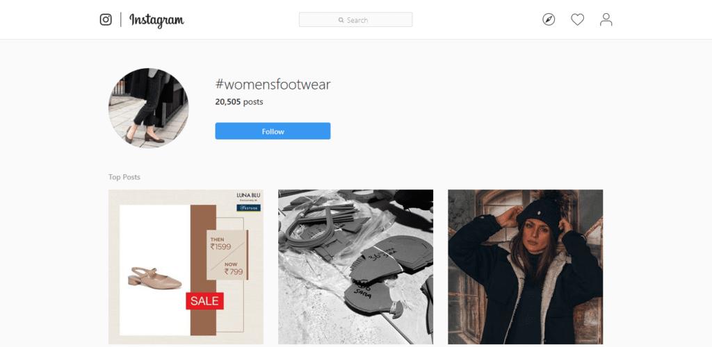 Instagram Hashtags Strategy women's footwear hashtag