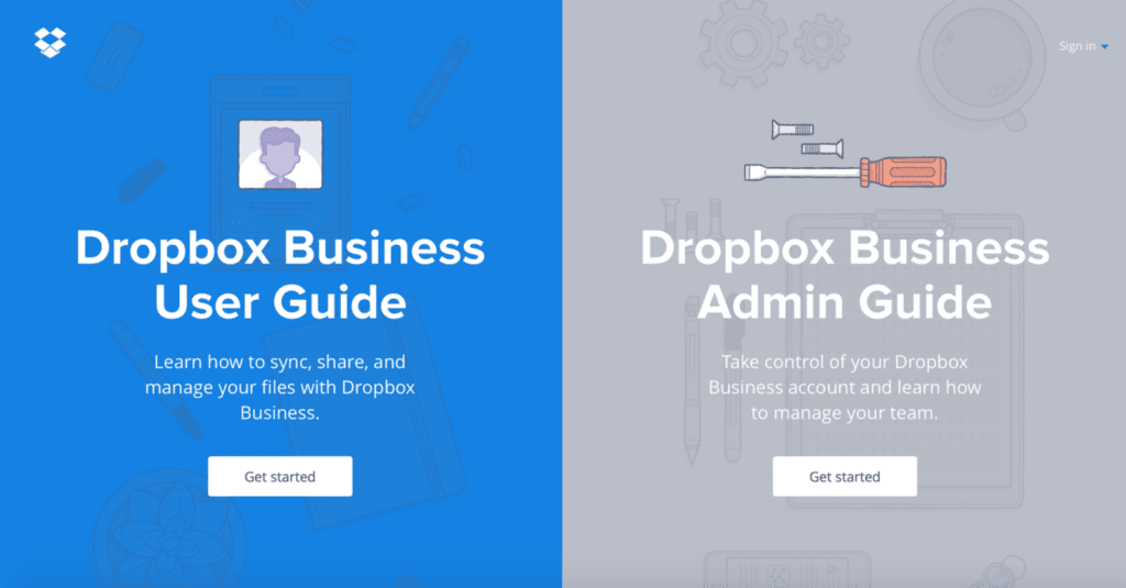 Dropbox business ebooks call to action examples