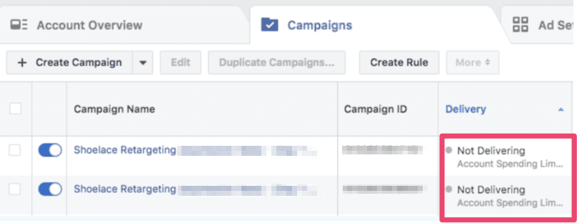 Why is Your Facebook Ads Not Delivering: Reach account spend limit