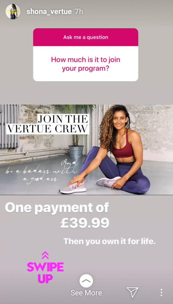 Shona Vertue Instagram ecommerce