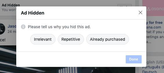 Hide ad message pop up