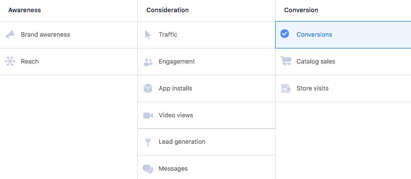 Facebook conversion goals