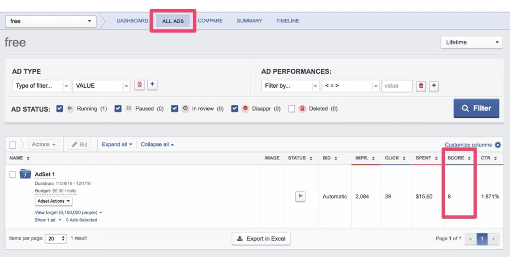 Facebook relevance score location