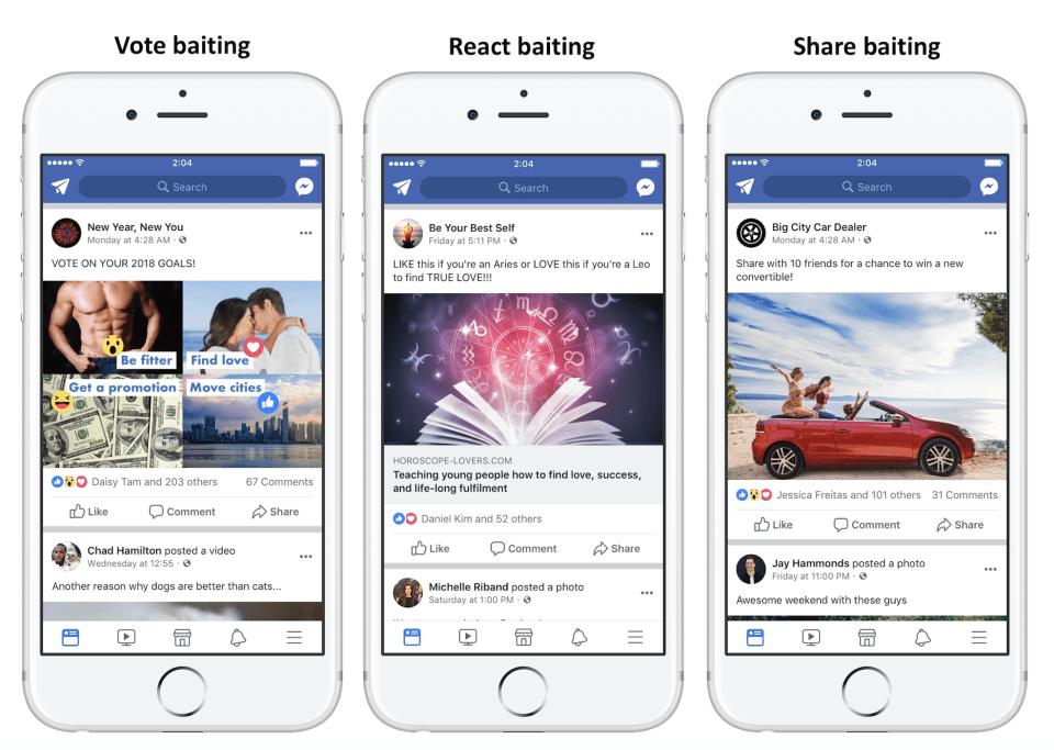 Facebook engagement bait example
