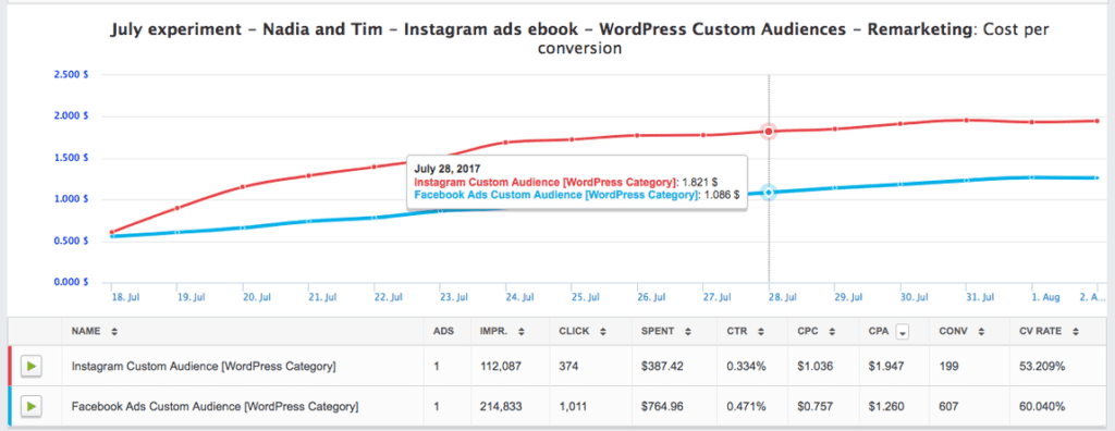 Instagram Lead Magnet Ad Campaign performance metrics.