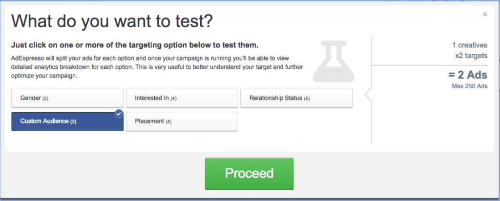 Custom lead magnet audience split test settings