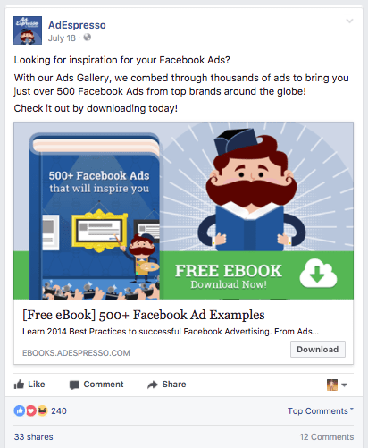 Campaign #1 - 500+ Facebook Ad Examples. Live Facebook ad example.