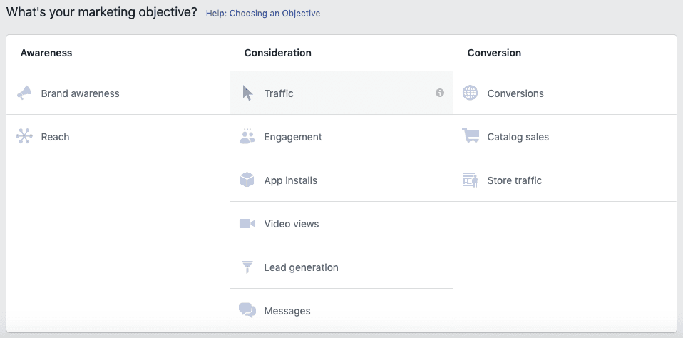 Facebook Offer Ads - Adding an objective