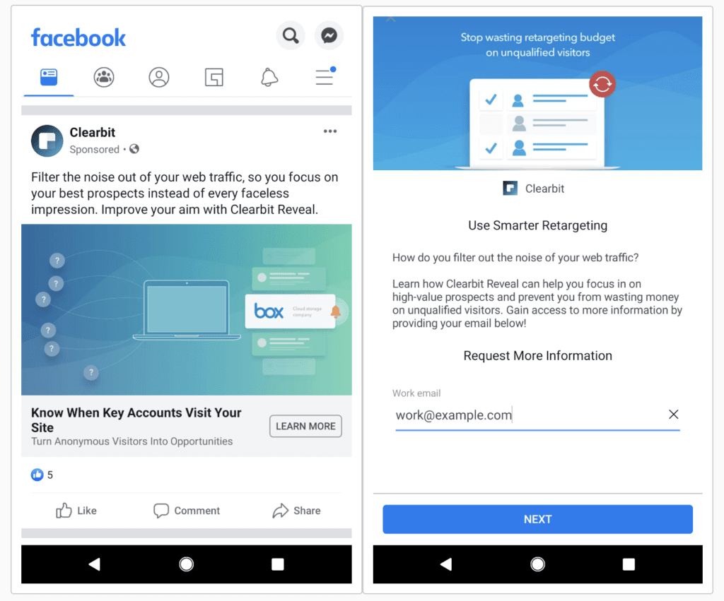 Facebook lead ad example from Clearbit.