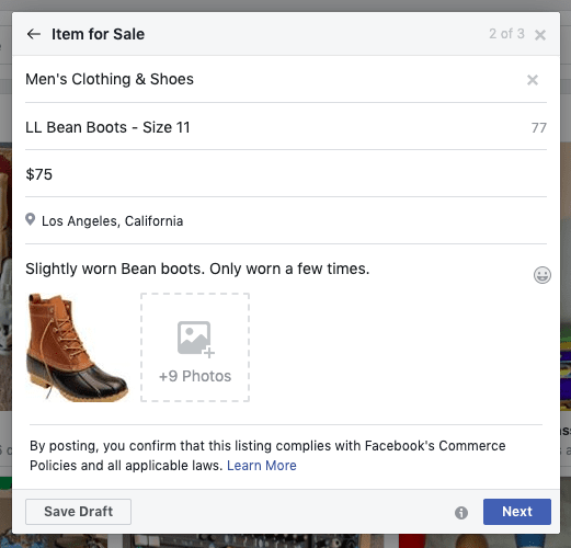 example Facebook Marketplace listing