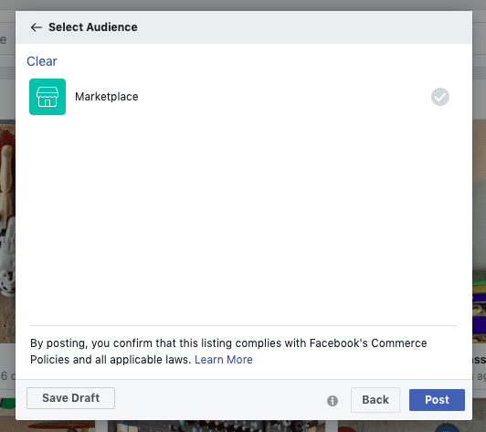 Facebook Marketplace audience selection