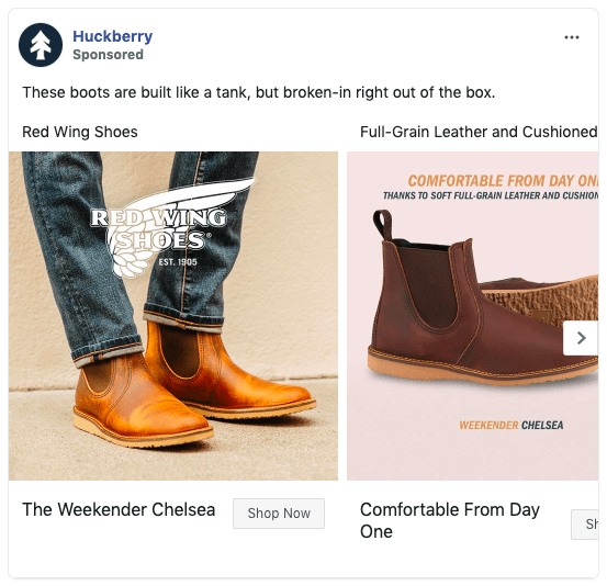 Huckberry Facebook carousel ad