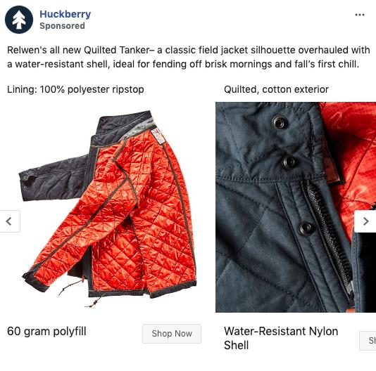 Huckberry Facebook carousel ad example 1