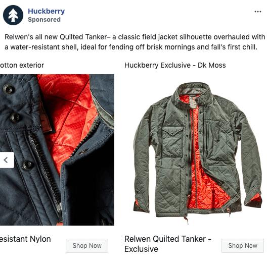 Huckberry Facebook carousel ad example 2