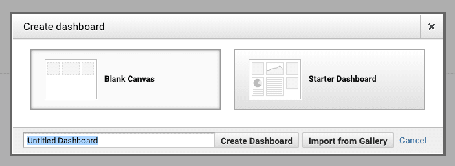 Google Analytics dashboard type options