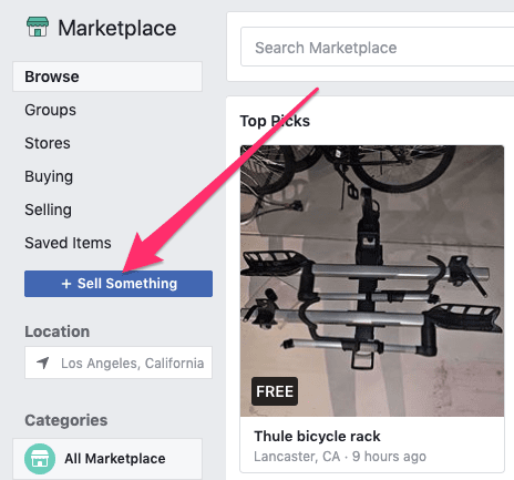 Sell Something button in Facebook Marketplace