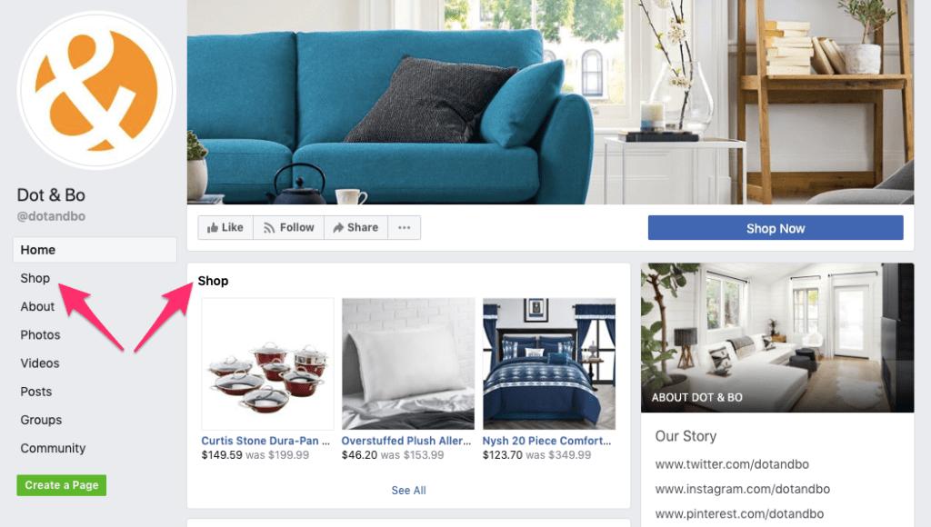 Facebook Marketplace shop options